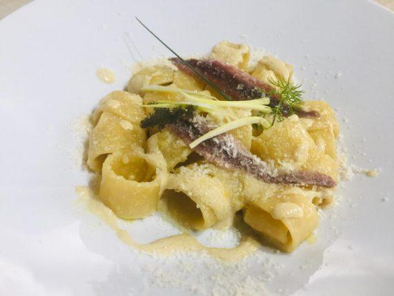 mezze maniche con cipollotto, pecorino sardo e acciughe del Mar Cantabrico